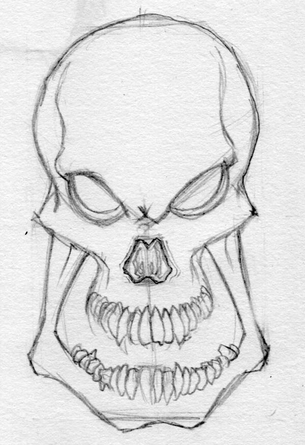 evil skull drawing drawing factory