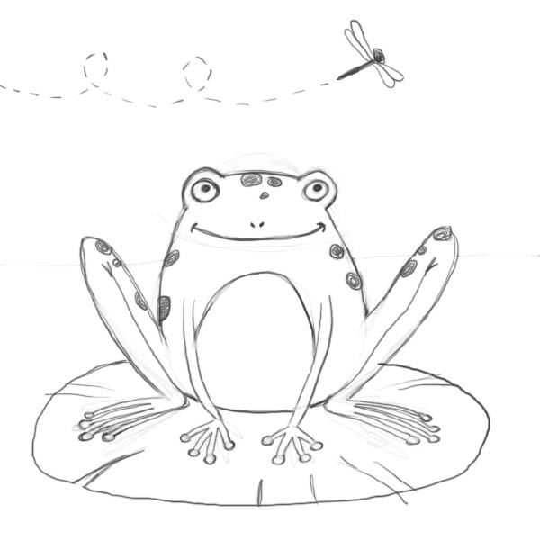 How to draw a cartoon frog the finished result